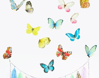 Butterfly Wall Decal, Playroom Decor, Watercolor Mural, Baby Room Decals, Flying Butterflies, Watercolor Butterfly, PVC free Fabric