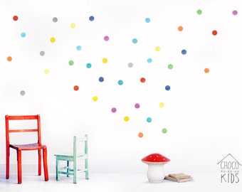 Watercolor Polka Dots Wall Decals, Fabric Wall Stickers (Not Vinyl, PVC free)