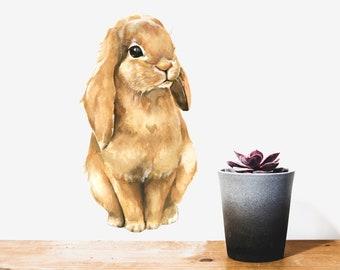 Brown Bunny Wall Decal, Bunny Rabbit, Bunny Wall Sticker - PVC free, Fabric Decal