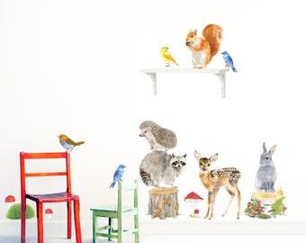 Forest Animals, Woodland Animals Set, Nursery Woodland Art, Nursery Wall Murals, Forest Nursery Decal, Baby Room Decals - PVC free Fabric