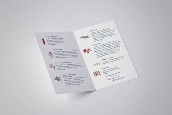 wedding program hindu infographic program printable etsy