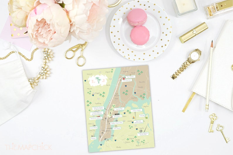 Save the Date Program or Itinerary custom designed by CW Designs WeddingEvent Map Invitation