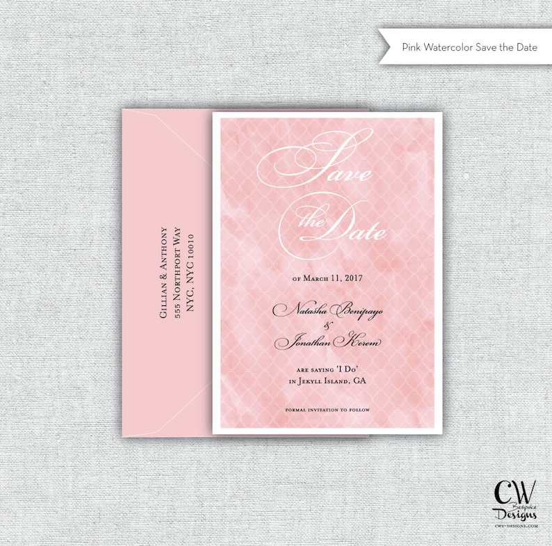 Shower Invite CW Designs Card Wedding Program Watercolor Blush Personalized Save the Date Guest Book Pink Magnet Invitation