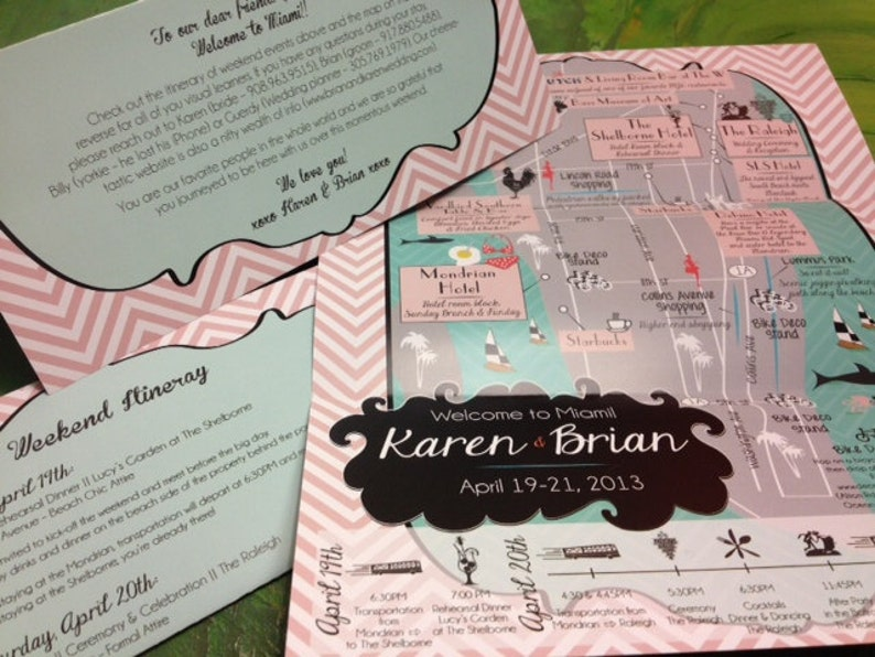 WeddingEvent Map Invitation Program or Itinerary custom designed by CW Designs Save the Date