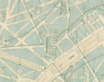 PARIS Flea Market France Fabric 3 yds Moda quilt sewing 3 Sisters aqua glass teal city French shabby 3 full yards map 3736-17