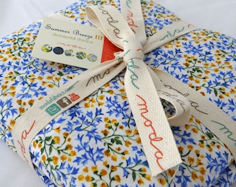 Calico Moda Fabric 6 yds for backing Blue & Yellow shabby quilt sewing Victorian Summer Breeze III Sentimental Studios 6 full yards 32942-11