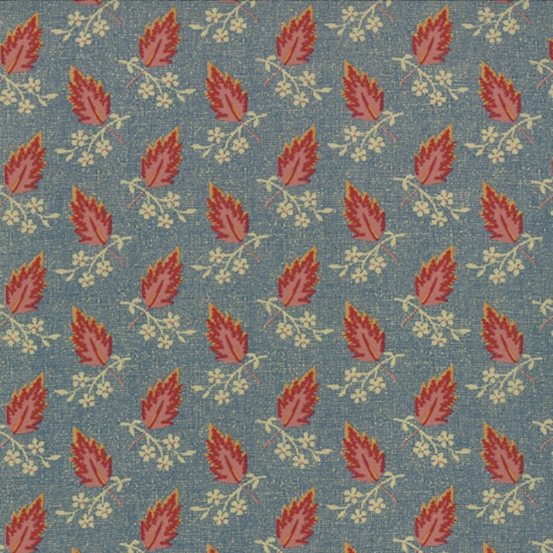 Jelly Bean Moda fabric 3 yds Shabby sewing quilting blue floral leaf pink calico Edyta Sitar Laundry Basket Quilts 3 full yards 42152-16