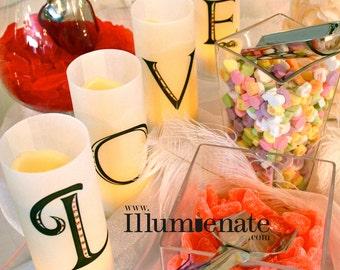 Love is Sweet Candy Bar Luminary Set - 8.5 inch - Candy Buffet Sign Centerpiece Wedding Reception-Set of 11 lumies