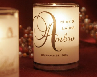 """119 Assembled Classic and """"Big Letter"""" Place Card / Name Card / Escort Card / Wedding Favor / Candle Votives with candles"""