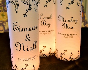 """20, 22, 24, 26, 28, or 30 """"Floral vine"""" Table number Luminaries for centerpieces, table numbers at wedding, events, balls"""