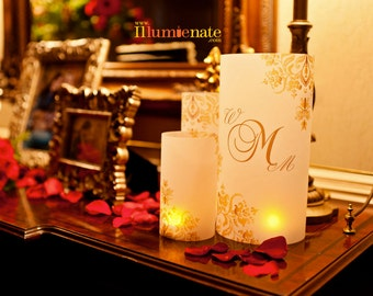 3 piece centerpiece sets - Damask Table number Luminaries, table numbers at wedding, events, balls
