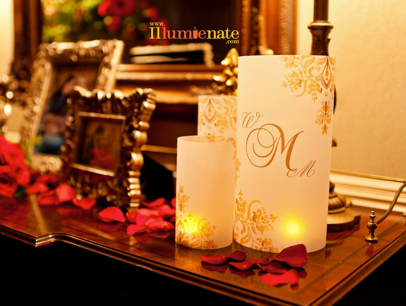 3 piece centerpiece sets  Damask Table number Luminaries image 0