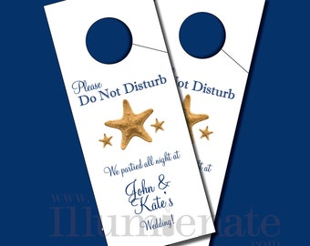 Nautical Printable Wedding door hangers for out of town guests as wedding favors and decorations