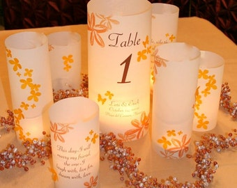 3 piece centerpiece sets - Custom Table number Luminaries, table numbers at wedding, events, balls