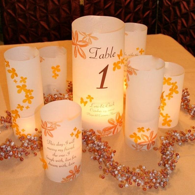 3 piece centerpiece sets  Custom Table number Luminaries image 0