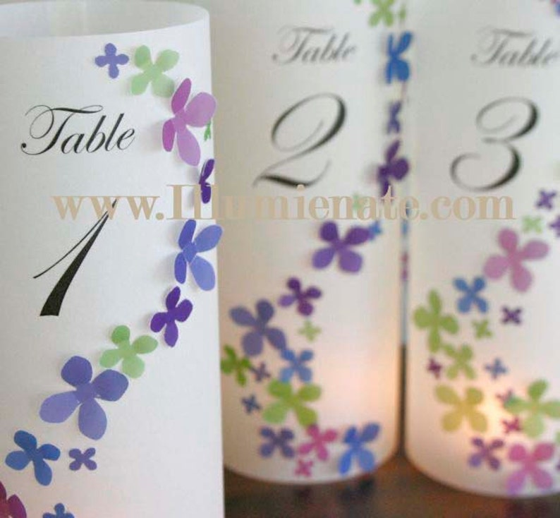 10 hydrangea Table number Luminaries for centerpieces table image 0