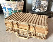 Vintage French Rattan Wicker Suitcase Picnic Basket, Vintage home Decor, Top Handles,