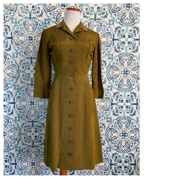 Vintage 30/40s Pencil Dress Olive Embroidered S2-4