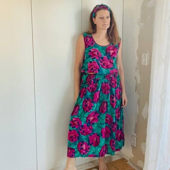 Vintage Adini India Gauze Cotton Floral Dress Larg