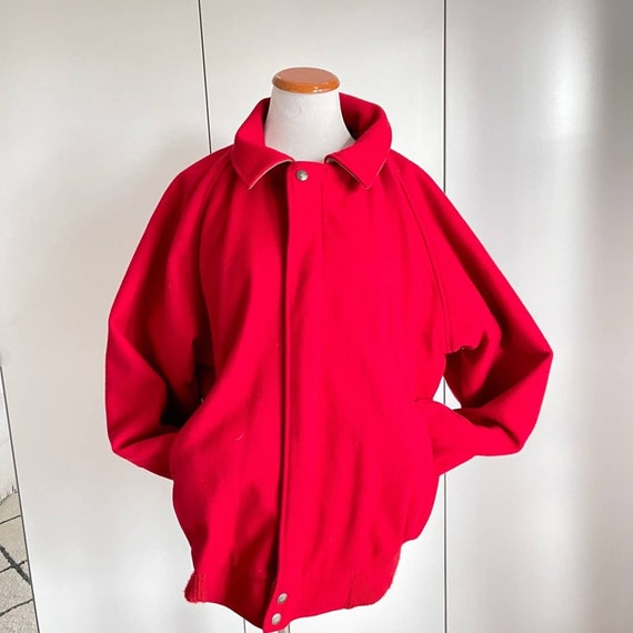 VTG Woolrich Men's Wool Jacket Red Small Bomber/ R