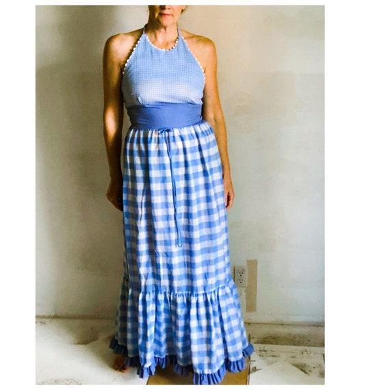 VTG Gingham Halter Sundress Maxi/White/ Blue/ Smal
