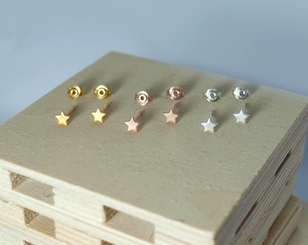 Stars Tiny Silver Stud Earrings Gold Vermeil Rose Gold-Plated Small Star Sterling Silver 925 Pink Women Girls Gift Black Jewelry Handmade
