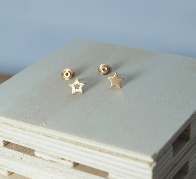 Open Star Stud Gold Star Earrings Mismatched Silver Star Studs Rose Gold-Plated Women Jewellery