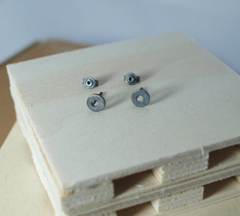 Round Studs Black Studs Gold Open Circles Circle Stud Earrings Sterling Silver Earring