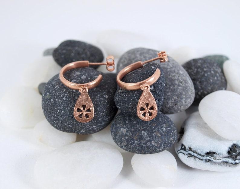 Charm Hoops Gold Drop Earrings Hoop Earrings Gold Hoops Hoop Earrings Gold Drops Flower Drop Earrings