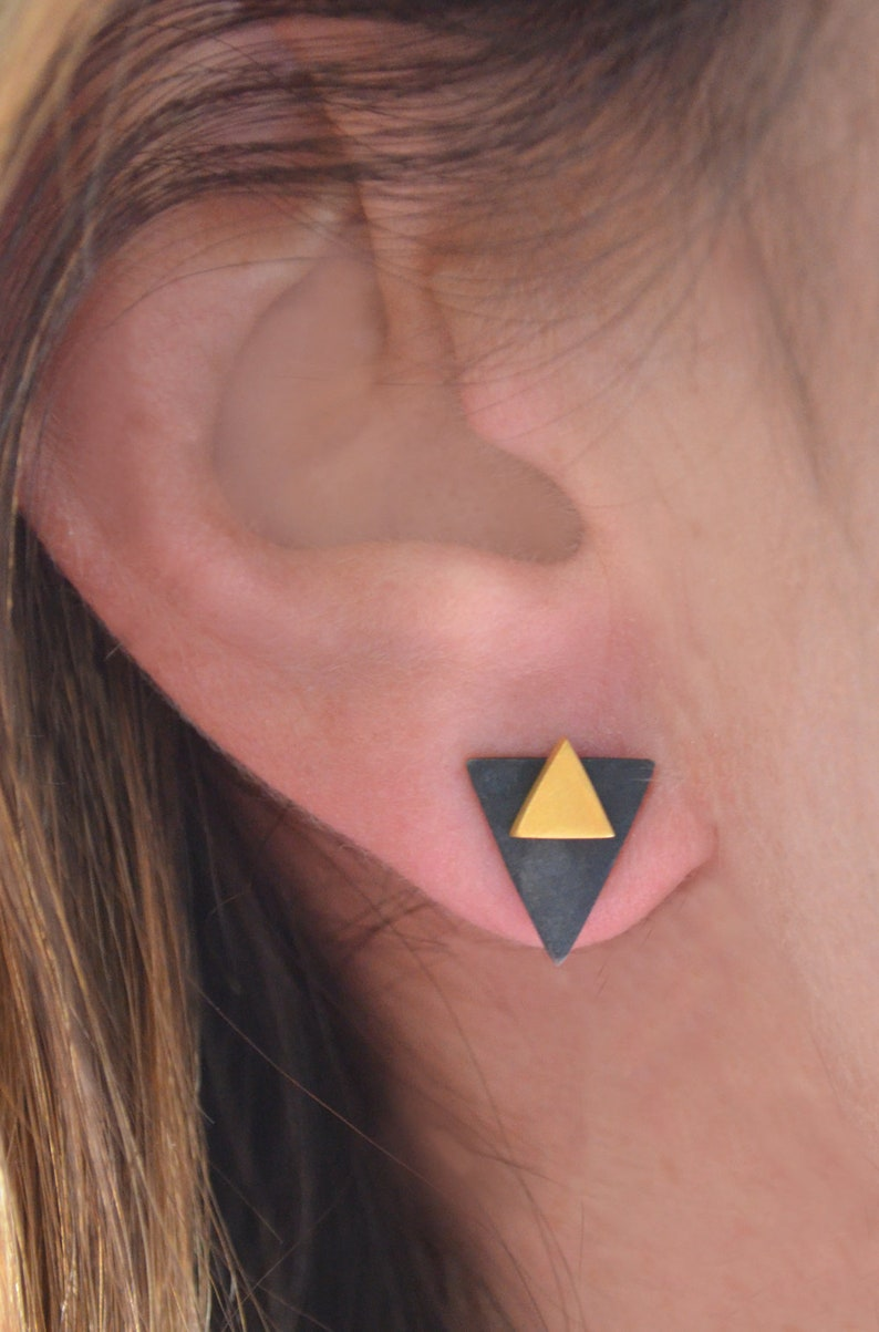 Rose Gold Girls Minimal Studs Geometric Gold Earrings Mix and Match Triangle Earrings Stud Silver Ear Jacket