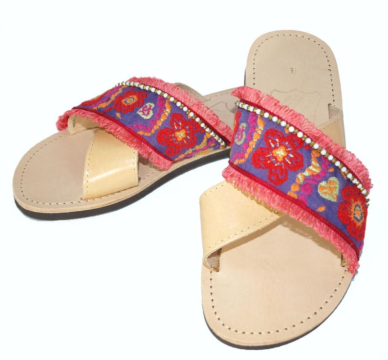 1a73e69cd9f Flower Sandals Leather Cross Straps Greek Beach Shoes Silk