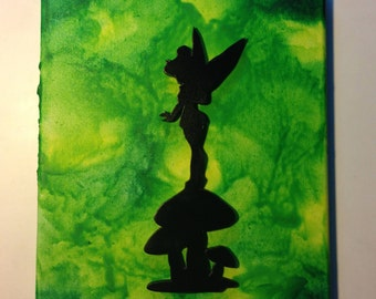Tinkerbell Fairy Inspired Melted Crayon Art Painting/ nursery room/ kids room/ playroom