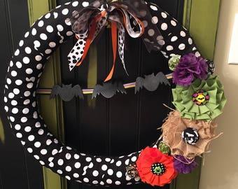 BattY Halloween Fabric Wreath