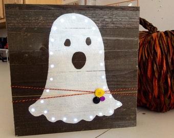 Mini Pallet light up Boo Ghost Halloween
