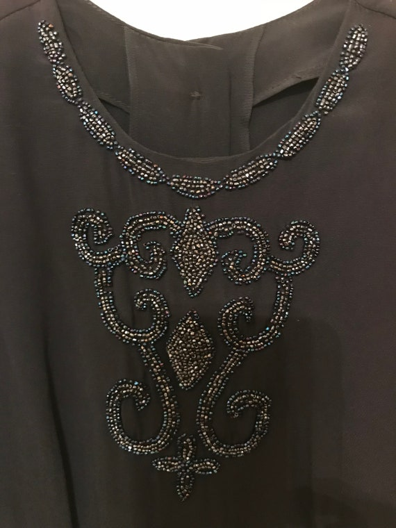 Vintage beaded black chiffon blouse