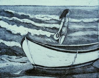 Fine Art Etching w Aquatint, Waiting