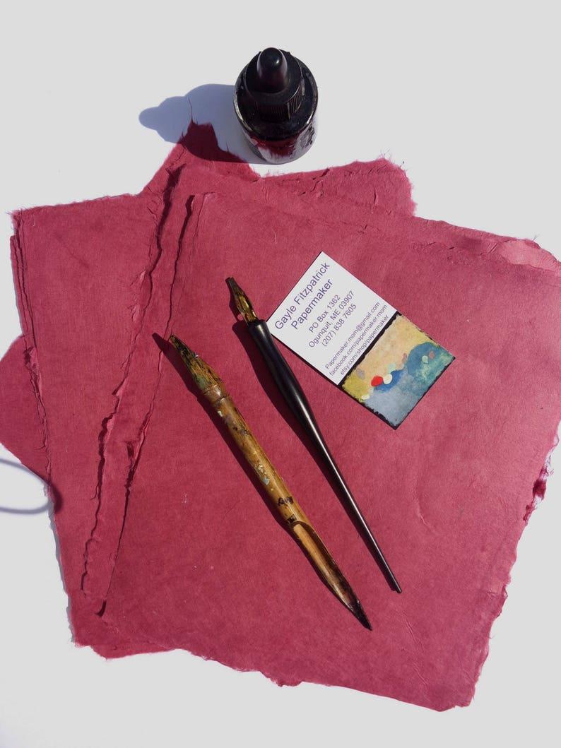 NEW Eight Sheets of 8 x10 inch Handmade Burgundy Abaca Kozo Paper