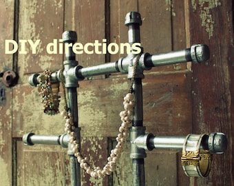 DIY build your own LARGE industrial chic jewelry display stand - {PDF directions}