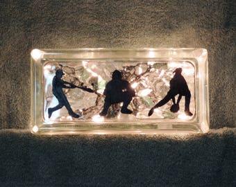 Glass Block Night Light.....Baseball