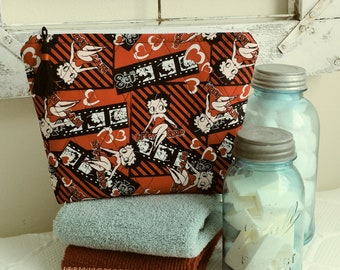 Handcrafted Quilted Betty Boop LG. Zippered Travel/Cosmetic Pouch