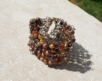 Knit Bracelet w/Magnetic Clasps-Golden Twilight