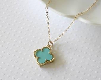 Quatrefoil necklace etsy turquoise flower necklace gold filled necklace blue flower necklace celebrity inspired everyday jewelry blue quatrefoil necklace aloadofball Choice Image