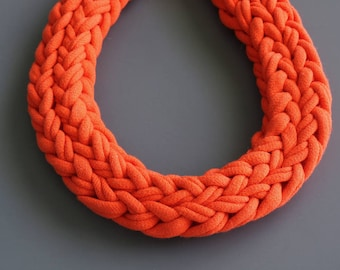 Textile Necklace Chunky Necklace Knitted Jewelry T-Shirt Necklace Knitted Cotton Cord Necklace Cotton Jewelry Textile Jewelry
