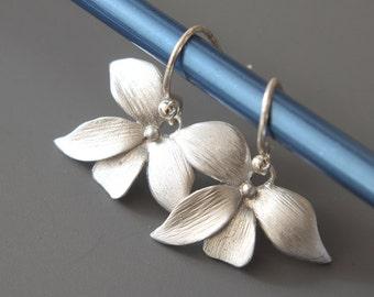 Silver Orchid Earrings - Simple Earrings - Drop Earrings - Silver Brushed Orchids - Dangle Earrings - Everyday Earrings - Flower Earrings