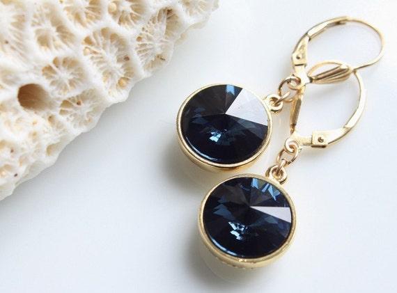 Lujo aretes creolen con swarovski ® cristal azul claro 750er Gold 18k dorado