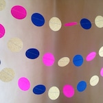 Navy Blue, Pink and Gold Paper Garland Birthday Party Decor, Baby Shower Decor, Nursery, Wedding and Bridal Shower Decor, Etc!