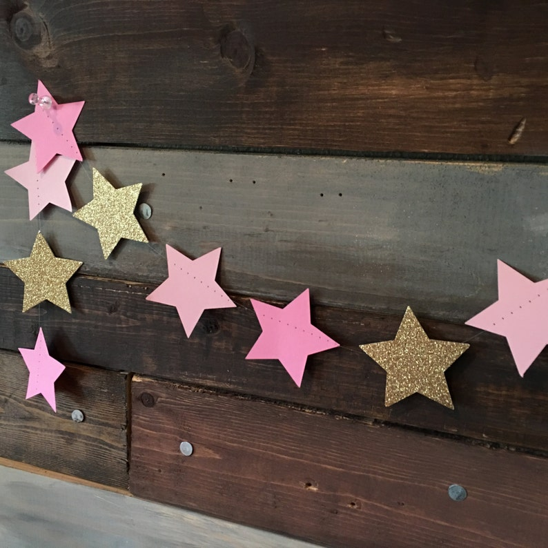 Twinkle Twinkle Baby Pink Pink and Gold Glittery Shimmering image 0