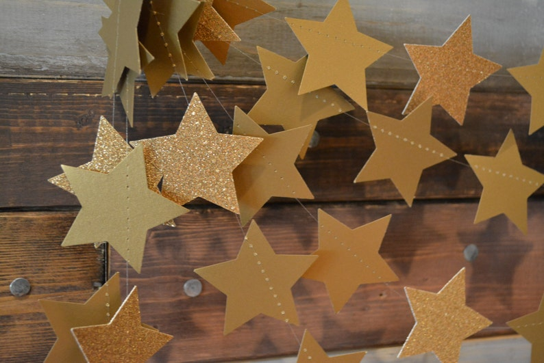 Twinkle Twinkle Antique Gold Glittery Shimmering Star image 0