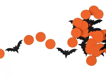 Orange and Black Halloween Bats Garland for Halloween Parties, Fall Classroom Decor, and More!