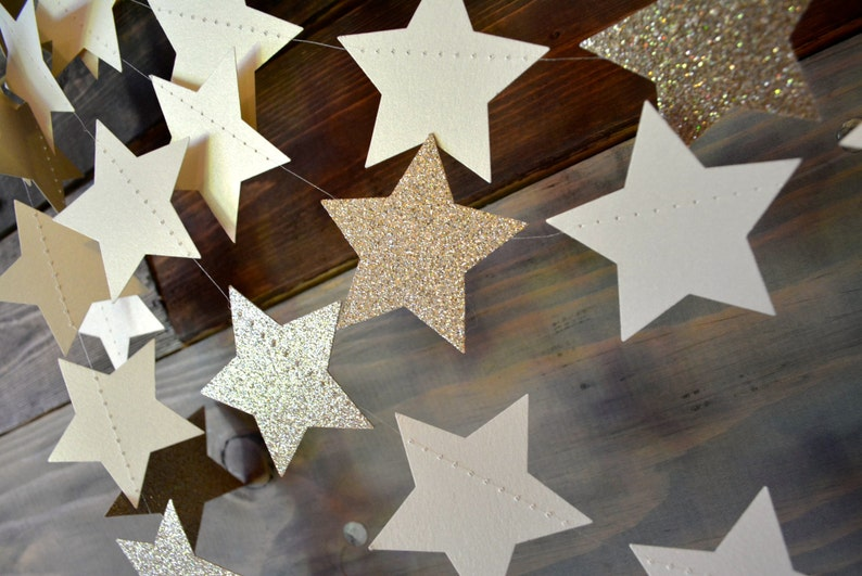 Twinkle Twinkle Champagne Glittery Shimmering Star Garland image 0